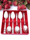 <英国銀器>1940年代:優雅な透かし模様のお花の銀細工♪シルバープレートのティースプーン「6本セット:お箱付」