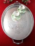 <英国銀器>1920年代:優雅なヴィクトリアンデザイン♪素晴らしい銀細工のとても大きな楕円形の銀盆