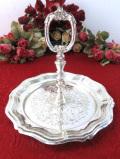 <英国銀器>1930年代:素晴らしい銀細工♪英国シルバープレートの優雅な持ち手付きディッシュ