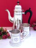 <英国銀器>1930年代:優雅なヴィクトリアンデザイン♪美しい銀細工のティーセット「3点セット」