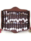 <銀器>素晴らしい紋様♪シルバープレートの26本のティースプーンコレクション&大きなスプーンラック