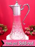 <英国銀器>1920年代:赤ワインが映える♪カットガラスが美しい大きなクラレットジャグ
