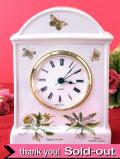 【30日間保証付】英国ボタニカルアート♪お花たちが美しい陶器の大きな置時計