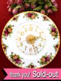 【30日間保証付】<ロイヤル・アルバート>オールドカントリーローズ♪22カラットゴールドと美しいバラのとても大きな壁掛け時計