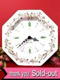 【30日間保証付】<英国ビンテージ>ロマンチックなおリボンとお花たち♪八角形の陶器の大きな壁掛け時計