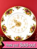 【30日間保証付】<ロイヤル・アルバート>オールドカントリーローズ♪22カラットゴールドの美しいバラの陶器の大きな壁掛け時計