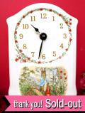 【30日間保証付】「ピーターラビット」♪英国の愛らしいウサギさんの陶器の壁掛け時計
