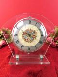 1950年代:ピンクのバラと水色の忘れな草♪ヴィクトリアンデザインのプチポワンの置時計