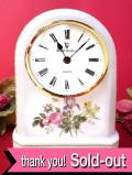 【30日間保証付】<ROYAL DOULTON>バラとアイリスと水仙のブーケ♪素晴らしく美しい陶器の置時計