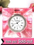 <スコットランド:Caithness>ピンクと透明ガラス♪手作りガラスのアートフルな光の置時計