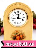 【30日間保証付】<エインズレイ>たくさんのフルーツたち♪マスタードカラーが美しい陶器の置時計