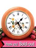 【30日間保証付】優しい英国の野バラ♪ぶ厚い無垢の木製の大きな壁掛け時計