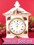 <30日保証:ロイヤル・アルバート>高さ16.5cm♪オールドカントリーローズ♪22金の金彩と優雅なバラのとても美しい大きな置時計