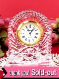 <アイルランド製>「KILLARNEY CRYSTAL」氷細工のような美しいクリスタルガラスのアートフルな光の置時計