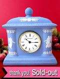 【30日間保証付】<ウェッジウッド>超レアなブルージャスパー♪優雅な女神様が踊るとても大きな陶器の置時計