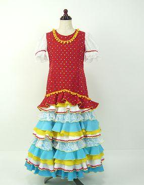 レンタル★RE-18 フラメンコ用 ワンピース衣装 赤&白&水色 120サイズ 子供用