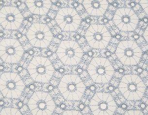 ★A-24★綿レース 白地水色刺繍 150cm幅