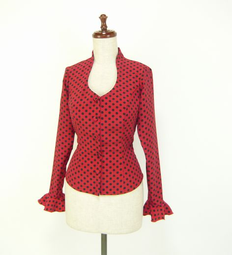 ★サマーセール★B-11 既製品 ブラウス 長袖1段フリル 赤×黒水玉 B88W70