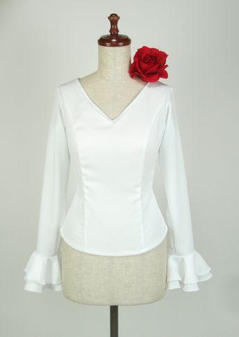 ★令和記念セール★B-28 既製品 ブラウス 長袖2段フリル コチーボ白  B88W70