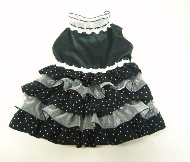 ★ドッグウエア★DF-1・フラメンコ風水玉ドレス・黒×白水玉・オーダーメイド