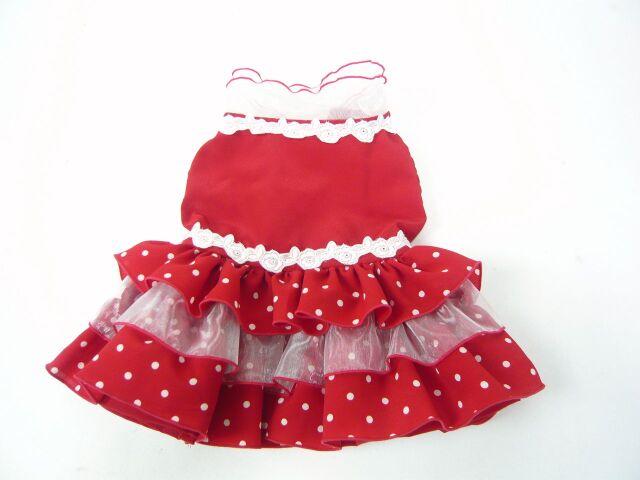 ★ドッグウエア★DF-2・フラメンコ風水玉ドレス・赤×白水玉・オーダーメイド
