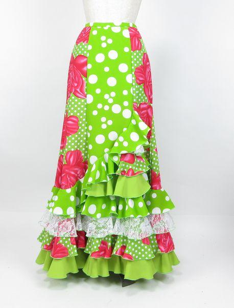 セール★1点物ファルダ★4段フリル左前8段・黄緑×白水玉&ピンク花柄 W66