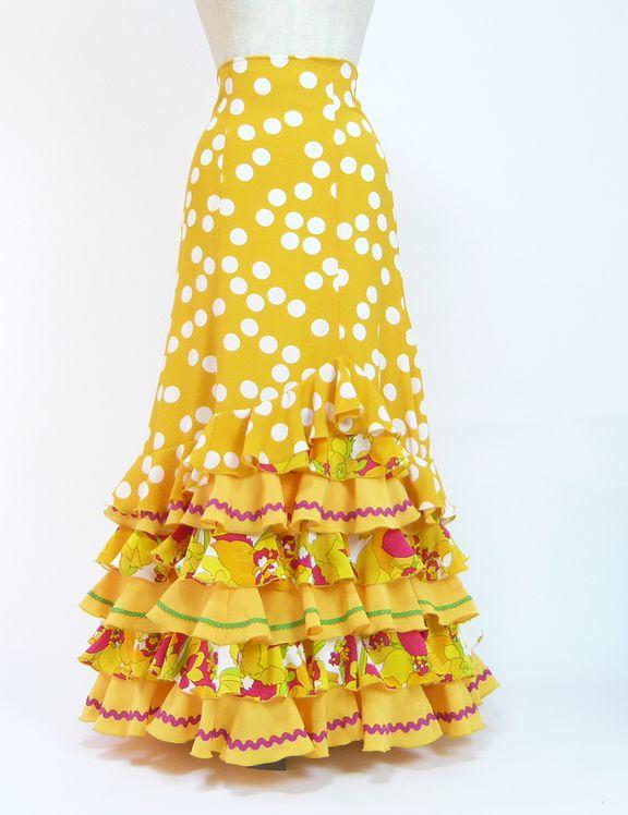 ★セール★SH-1 ハイウエストファルダ 黄色×白水玉 ペチコート付  W71丈93
