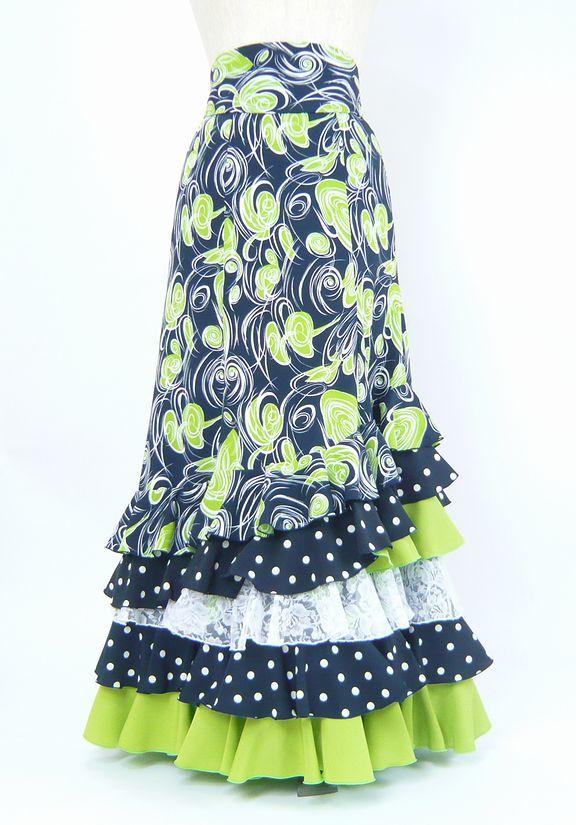 セール★ベルト付ファルダ★濃紺×黄緑柄&ピスタチオグリーン W65