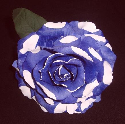 フラメンコ用・花・造花・紫×白水玉・直径14cm