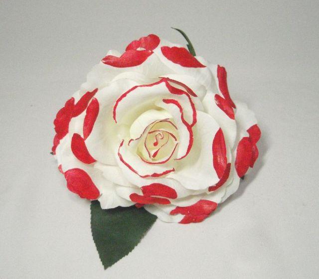 フラメンコ用・花・造花・白×赤水玉・直径14cm