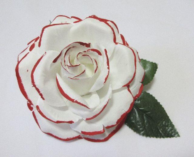 フラメンコ用・花・造花・白(赤ふち)・直径15cm