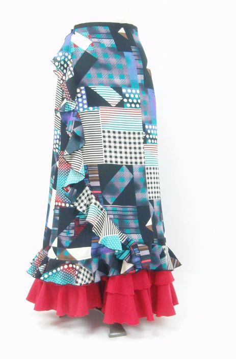 ★セール★巻きスカート&ペチコート★黒×ブルー・グリーンパッチワーク柄 W66