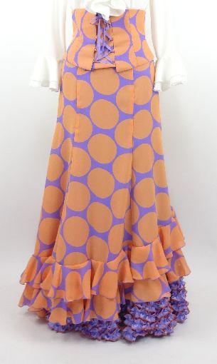★イージーオーダー★G1429-F ファルダ(ペチコート付)とベルトのセット 薄紫×オレンジ水玉