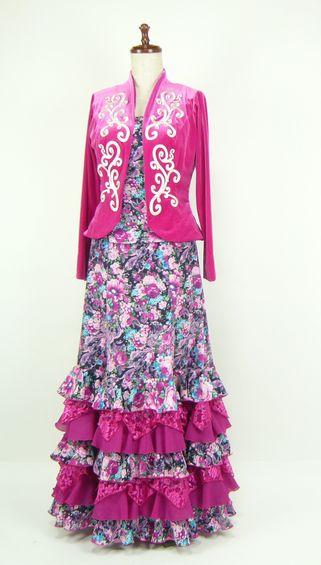 ★セール★G1712★ベルベットジャケット付 スリーピース 紺地ピンク花柄 B91W72