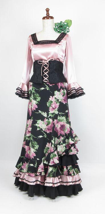 ★セール★G1805 黒×ピンク系花柄 ツーピース ベルト付  B96W80