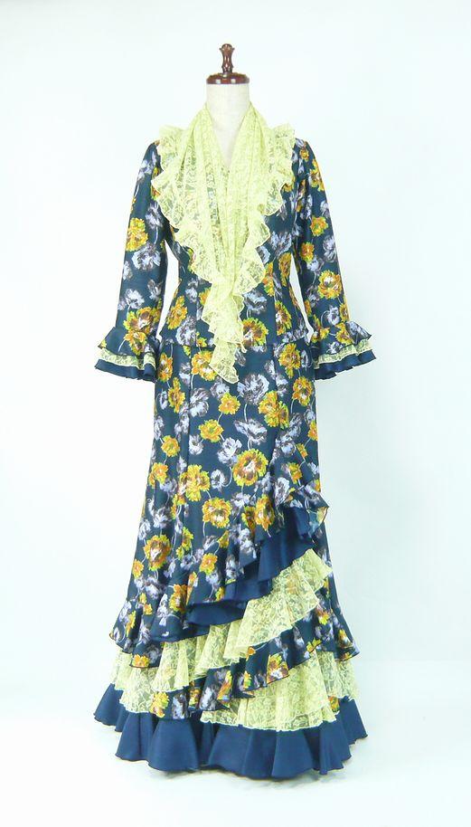 ★サマーセール★G1901★シャンタン花柄 ツーピース 紺×黄 B91W73