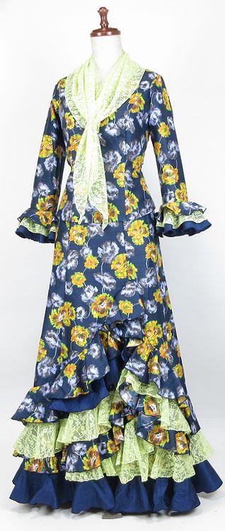 ★新作★G1901★シャンタン花柄 ツーピース 紺×黄 B91W73