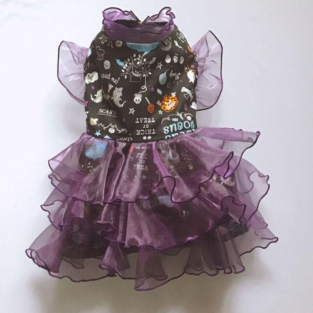 ★ドッグウエア★DH-2・ハロウィン・魔女仮装ドレス・黒&紫・オーダーメイド