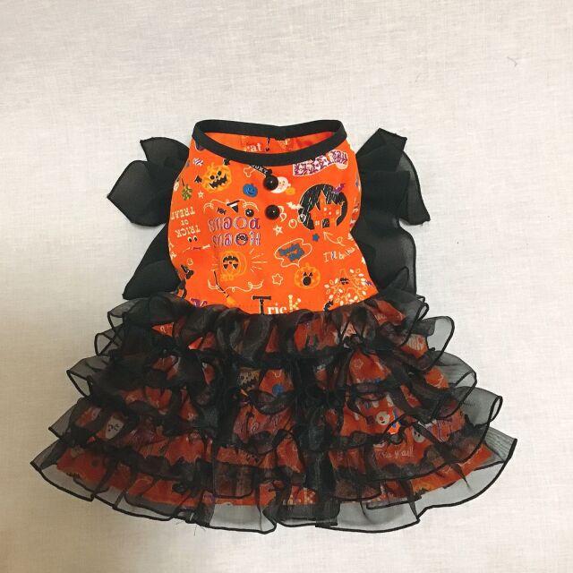 ★ドッグウエア★DH-1・ハロウィン・魔女仮装ドレス・オレンジ・オーダーメイド