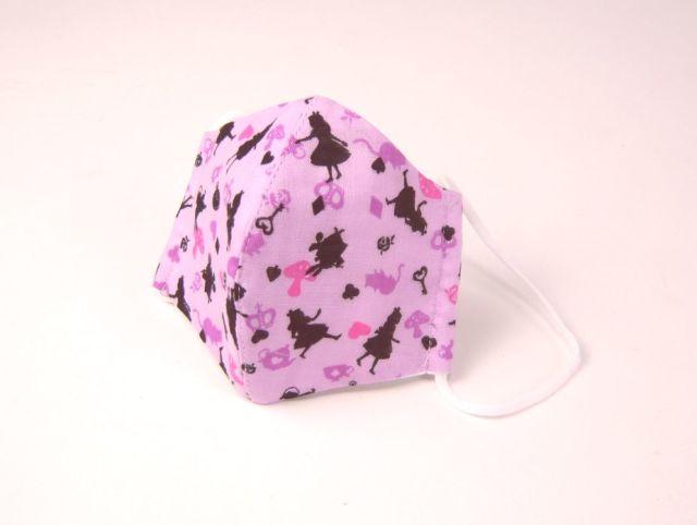 NEW●立体布マスク(ガーゼ) 薄紫アリス柄 女性向けサイズ 綿