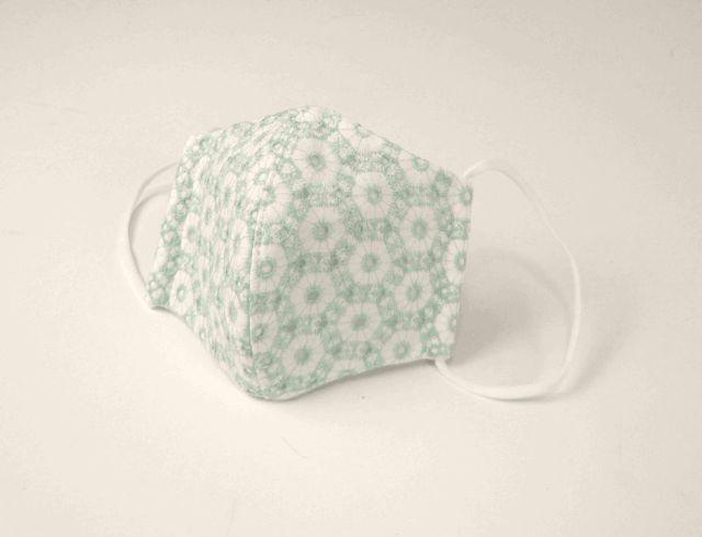 NEW●立体布マスク(表地綿レース裏ガーゼ) 白地水色・六角形柄 女性用