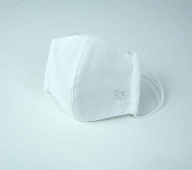 夏マスク●接触冷感生地使用●立体布マスク  白無地ワンポイント 女性用 M TCブロード