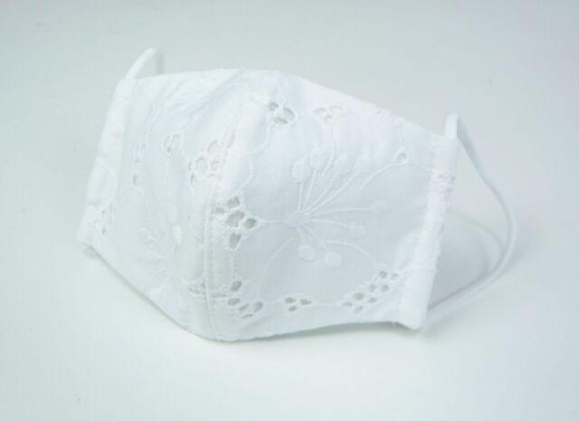 夏マスク●接触冷感生地使用●立体布マスク(表地綿レース・B柄) 女性用 白