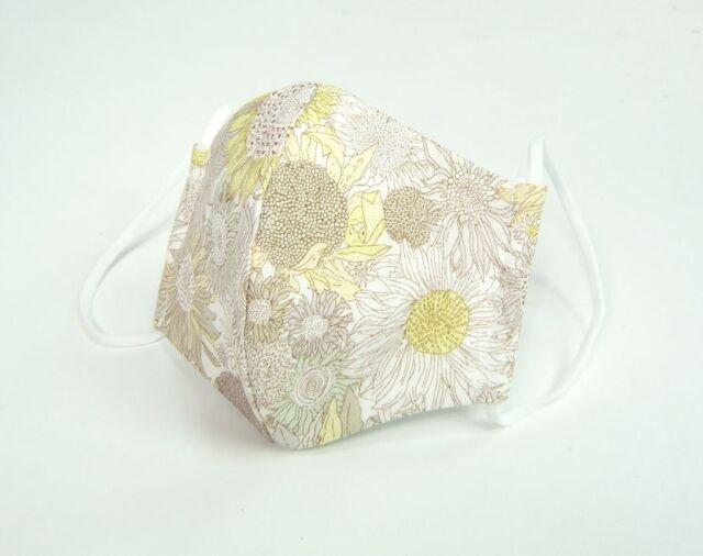 夏マスク●接触冷感生地使用●立体布マスク  リバティ 麻 ひまわり柄 黄色(スモールスザンナ)