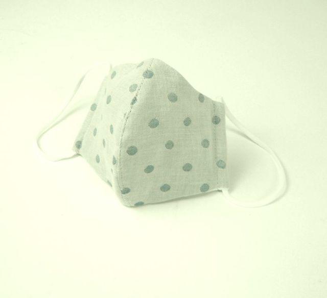 立体布マスク(ガーゼ) グレー水玉 女性用
