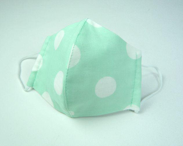 立体布マスク(ガーゼ) ペパーミント地白水玉 女性用