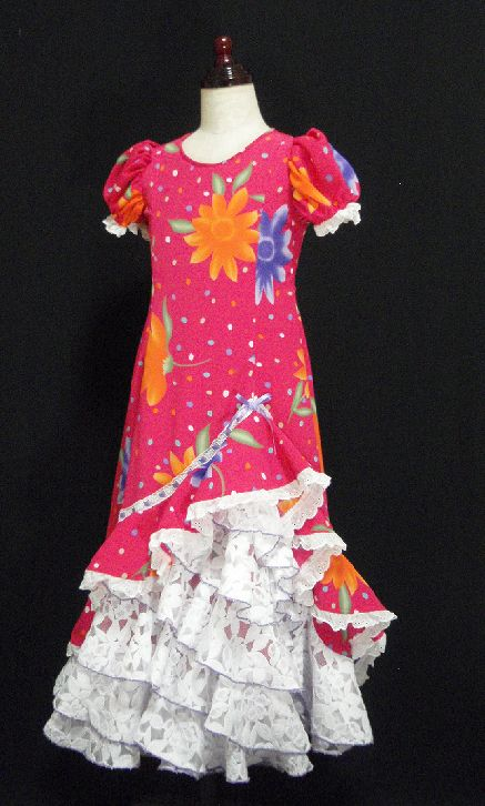 レンタル★RE-1 フラメンコ ワンピース衣装 120サイズ 子供用