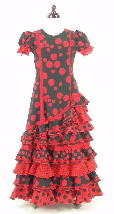レンタル★RE-11 フラメンコ ワンピース衣装・黒×赤水玉 130サイズ・子供用