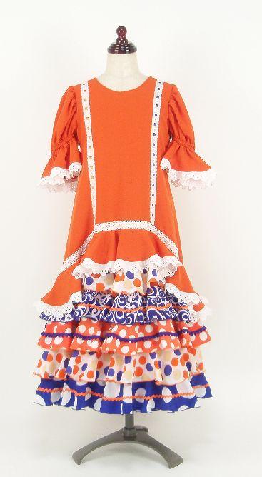 レンタル★RE-12 フラメンコ ワンピース衣装・オレンジ 120サイズ・子供用