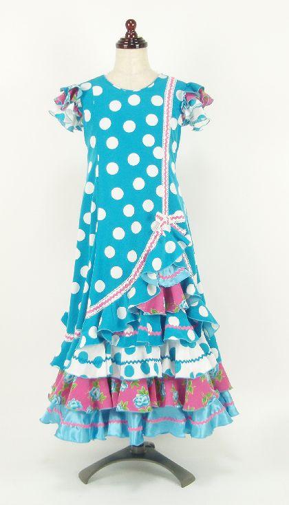 ★子供用レンタル★RE-13 フラメンコ  ワンピース衣装・水色 120サイズ
